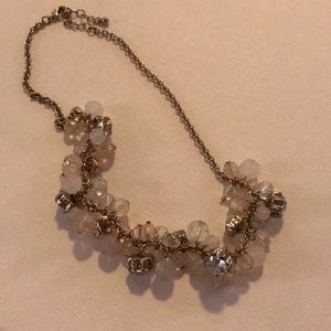 Jewelry - Pink crystal and diamond cluster necklace